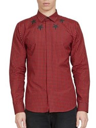 Givenchy Gingham Star Button Down Shirt Red