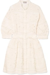 Paul And Joe Broderie Anglaise Cotton Silk Blend Mini Dress White