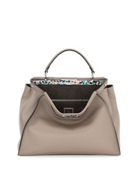 Fendi Peekaboo Large Granite Plexi Satchel Bag Dove Multi