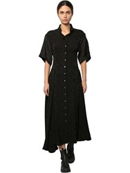 Loewe Satin And Linen Jacquard Shirt Dress Black