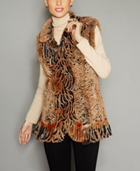 The Fur Vault Knitted Rex Rabbit Vest Black Gold