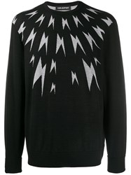 Neil Barrett Thunderbolt Wool Sweater Black