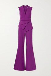 Safiyaa Reyanna Layered Stretch Crepe Flared Jumpsuit Violet
