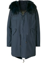 Mr And Mrs Italy Trimmed Hooded Parka Blue