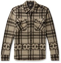 Rrl Checked Wool And Cashmere Blend Overshirt Beige