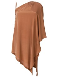 Lost And Found Rooms Asymmetric Off Shoulder Dress Brown