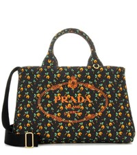 Prada Printed Cotton Canvas Tote Black