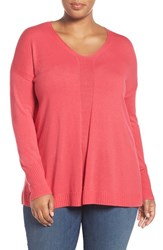 Sejour Plus Size Women's V Neck Sweater Pink Polish