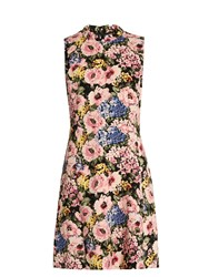 Rebecca Taylor Floral Print Sleeveless Crepe Dress Pink Multi