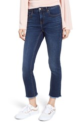 Vigoss Fray Hem Crop Straight Leg Jeans Dark Wash