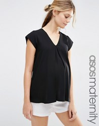 Asos Maternity V Neck Origami T Shirt Black