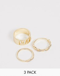 Reclaimed Vintage Inspired Multi Ring Pack With Baby Slogan And Crystal Detail Gold