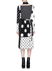 Marc Jacobs Contrast Polka Dot Print Dress With Scarf Multi Colour