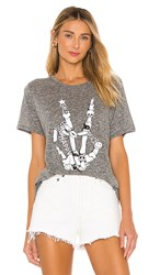 Lauren Moshi Capri Short Sleeve Vintage Tee In Grey. Heather Grey