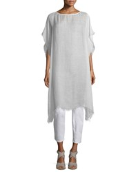 Short Sleeve Airy Linen Maltinto Long Poncho Women's White Eileen Fisher Opal