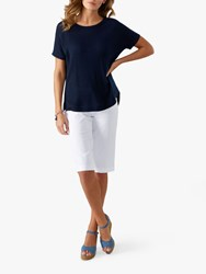 Pure Collection Curved Hem Cashmere Knitted T Shirt Navy
