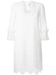 Huishan Zhang Scalloped Macrame Lace Dress White