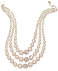 Charter Club Rose Gold Tone Pave And Pink Imitation Pearl Triple Row Necklace Created For Macy's