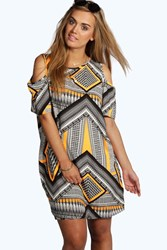 Boohoo Aztec Print Open Shoulder Shift Dress Multi