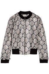 Suno Ruffle Trimmed Metallic Printed Lace Jacket Multi