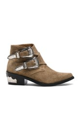 Toga Pulla Buckle Suede Booties In Neutrals