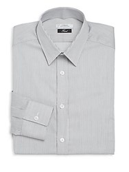 Versace Trend Fit Striped Cotton Dress Shirt Nero Bianco
