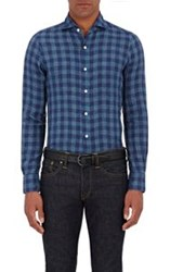 Finamore Gingham Slub Weave Shirt Blue