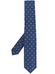 Barba Floral Embroidered Tie Blue