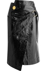 Petar Petrov Crinkled Patent Leather Wrap Skirt Black