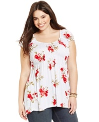 American Rag Plus Size Cap Sleeve Printed Babydoll Top Pompeian Red Combo