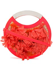 Delpozo Fringed Circular Bag Yellow And Orange