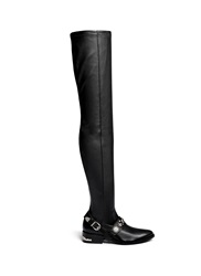 Toga Archives Stud Buckle Harness Leather Thigh High Boots Black