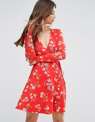Asos Wrap Tea Dress With Long Sleeves In Red Floral Print Multi