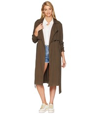 Michael Stars Tencel Stretch Twill Trench Coat Loden Green