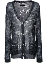 Roar Sheer Open Knit Cardigan Black