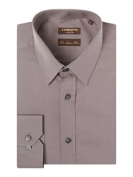 Corsivo Pecori Cutaway Collar Cotton Shirt Mink