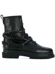 Baldinini Studded Stap Boots Calf Leather Leather Rubber 39.5 Black