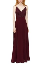 Heartloom Haley Lace And Chiffon Gown Aubergine