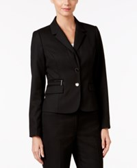 Calvin Klein Two Button Pinstriped Blazer Black