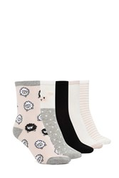Forever 21 Sheep Print Crew Socks 5 Pack