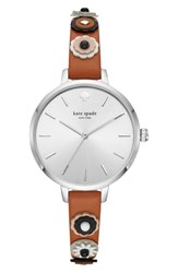 Kate Spade New York Metro Applique Leather Strap Watch 34Mm Brown Silver