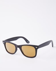 Asos Square Sunglasses In Matte Black With Gold Lens Black
