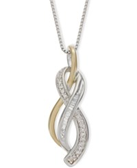 Macy's Diamond Figure 8 Pendant Necklace 1 10 Ct. T.W. In 925 14K Yellow Gold Vermeil And Sterling Silver No Color