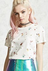 Forever 21 Cocktail Graphic Tee White Multi