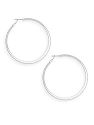 Ak Anne Klein Social Textured Silvertone Hoop Earrings 2.5