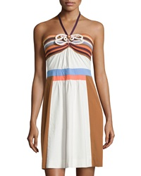 M Missoni Crochet Colorblock Halter Dress Ivory Multi