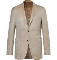 Canali Beige Kei Slim Fit Herringbone Wool Silk And Linen Blend Blazer Beige