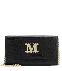 Max Mara Con Croc Effect Leather Shoulder Bag Black