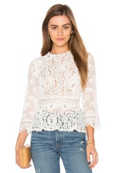 Rebecca Taylor Long Sleeve Mix Top White