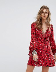 Kiss The Sky Smock Dress With Ruffle Trims And Ribbon Ties In Leopard Red